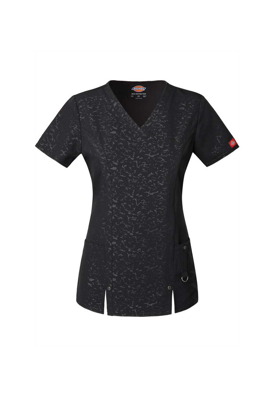 Dickies Xtreme Stretch Embossed Camo V-neck Scrub Tops - Camo Black - XS plus size,  plus size fashion plus size appare