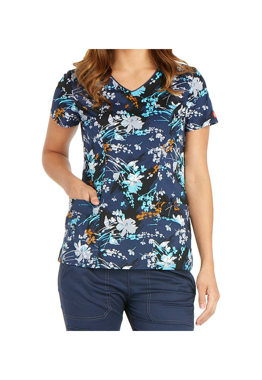 Dickies Gen Flex Brush Stroke Blooms V-neck Print Scrub Tops - Brush Stroke Blooms