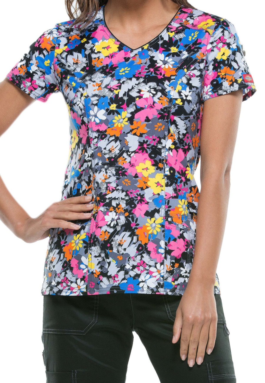Dickies Gen Flex Fabulous Floral Print Scrub Tops - Fabulous Floral
