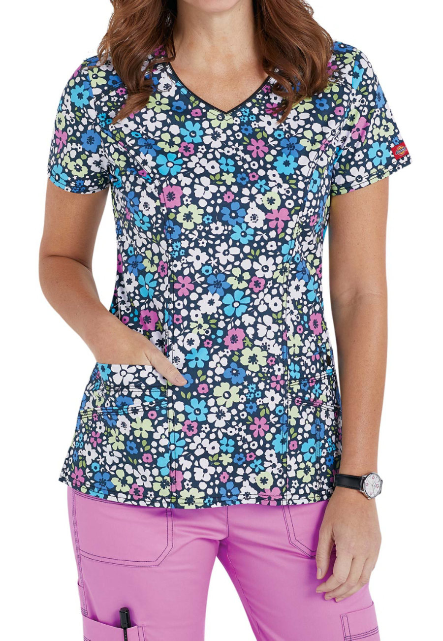 Dickies Gen Flex Petal Pop V-neck Print Scrub Tops - Petal Pop print