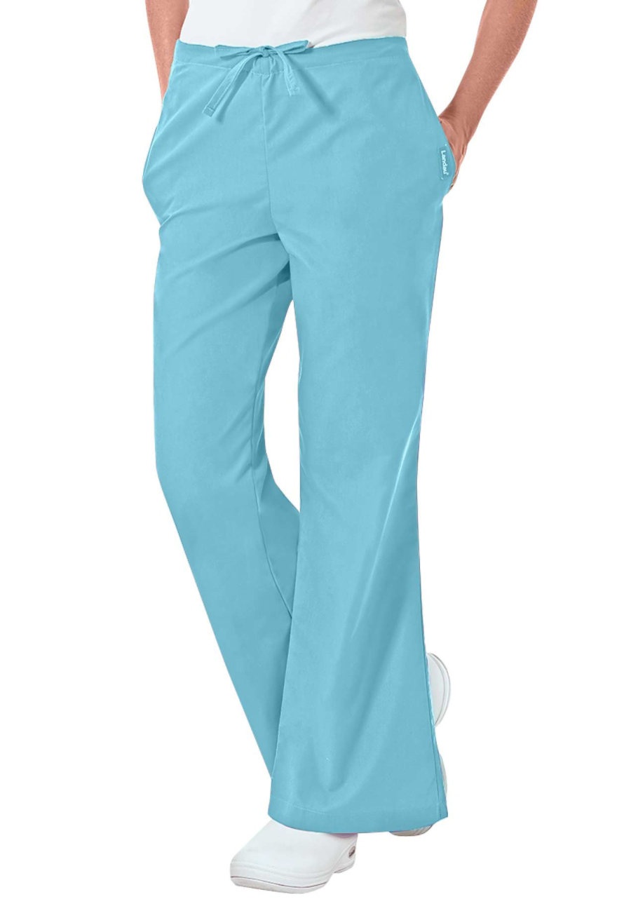 Landau Essentials Flare-leg Scrub Pants - Aqua - PXS plus size,  plus size fashion plus size appare