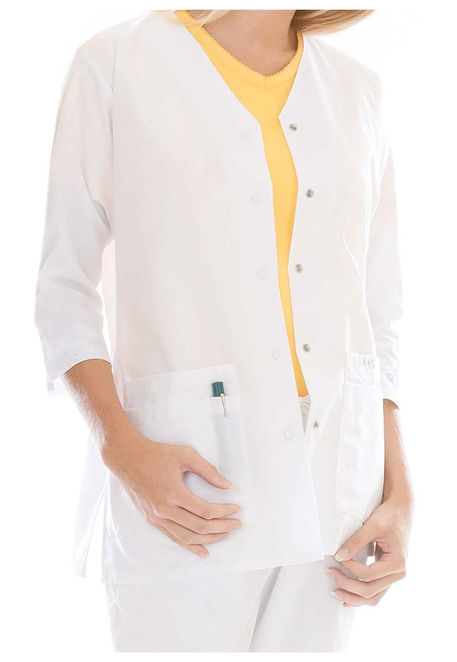 Landu Essentials Three Quarter Sleeve Scrub Jackets - White - 3X plus size,  plus size fashion plus size appare