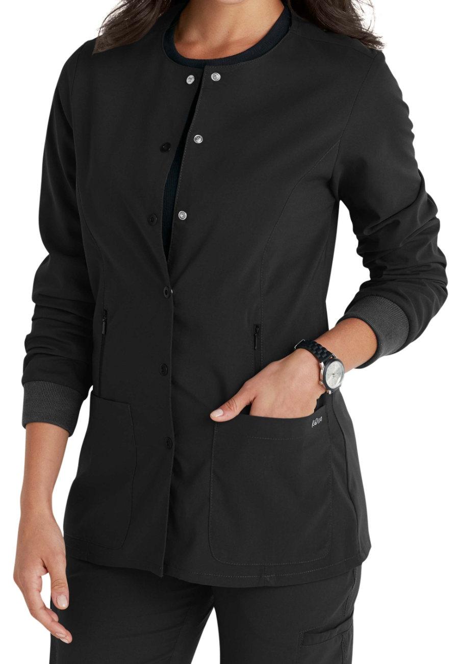 Barco KD110 Hayley 4-pocket Warm Up Scrub Jacket - Black - 3X plus size,  plus size fashion plus size appare