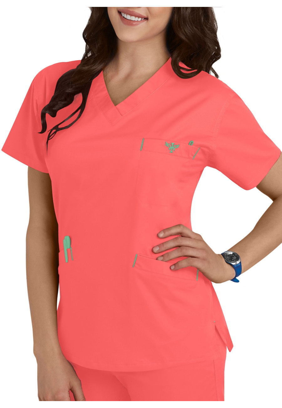 Med Couture Signature Classic V-neck Scrub Tops - Apricot/Key Lime - 3X plus size,  plus size fashion plus size appare