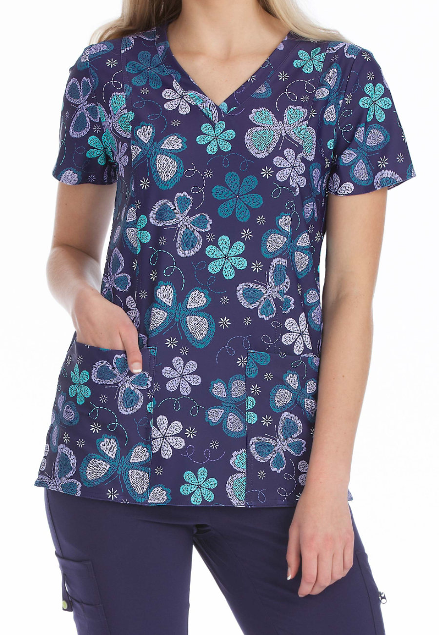 Med Couture Activate Cool Skies V-neck Print Scrub Top