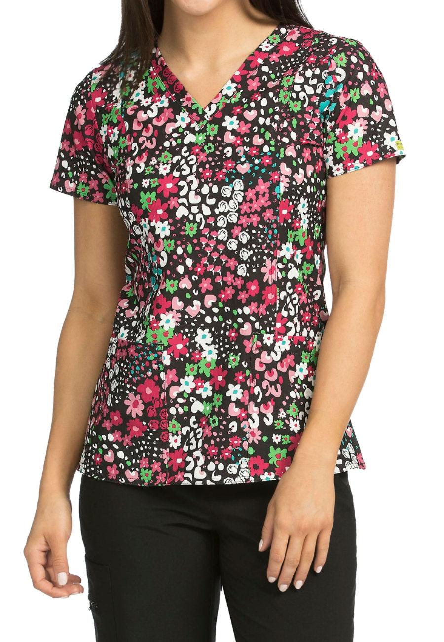 Med Couture Activate Garden Medley V-neck Print Scrub Top