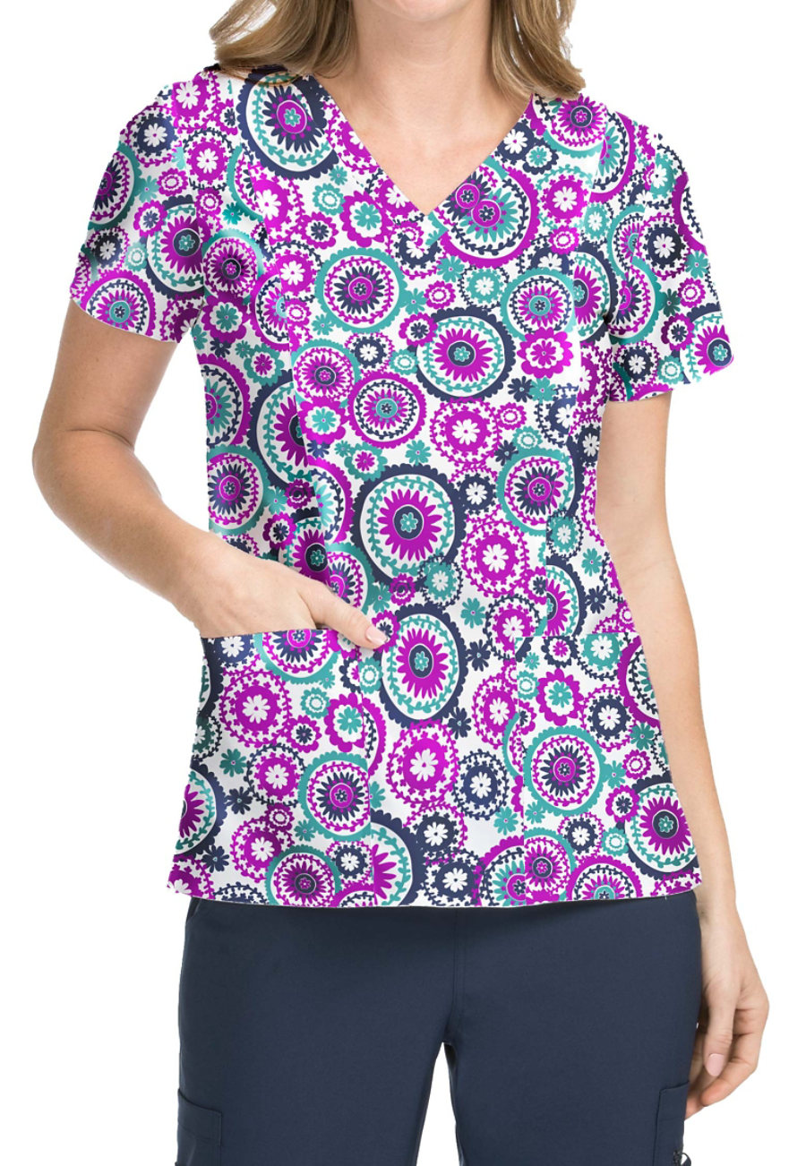 Med Couture Activate Round About V-neck Print Scrub Top