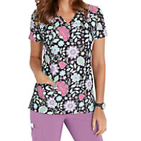 Med Couture Activate Spring Haze V-neck Print Tops