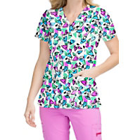 Med Couture Activate Whimsical Hearts V-neck Print Tops