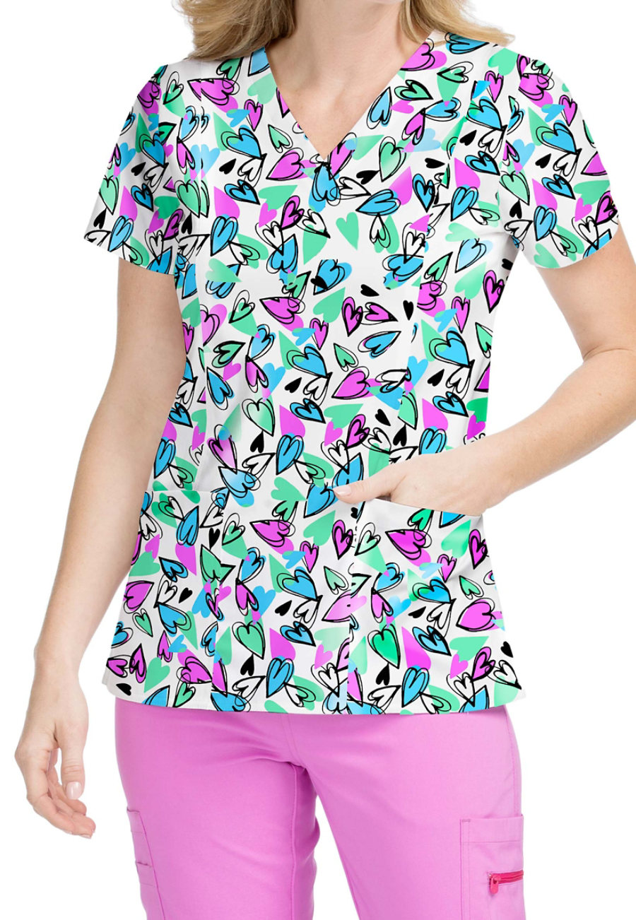 Med Couture Activate Whimsical Hearts V-neck Print Scrub Top
