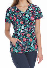 Med Couture Activate Petal Power Refined Print Scrub Tops