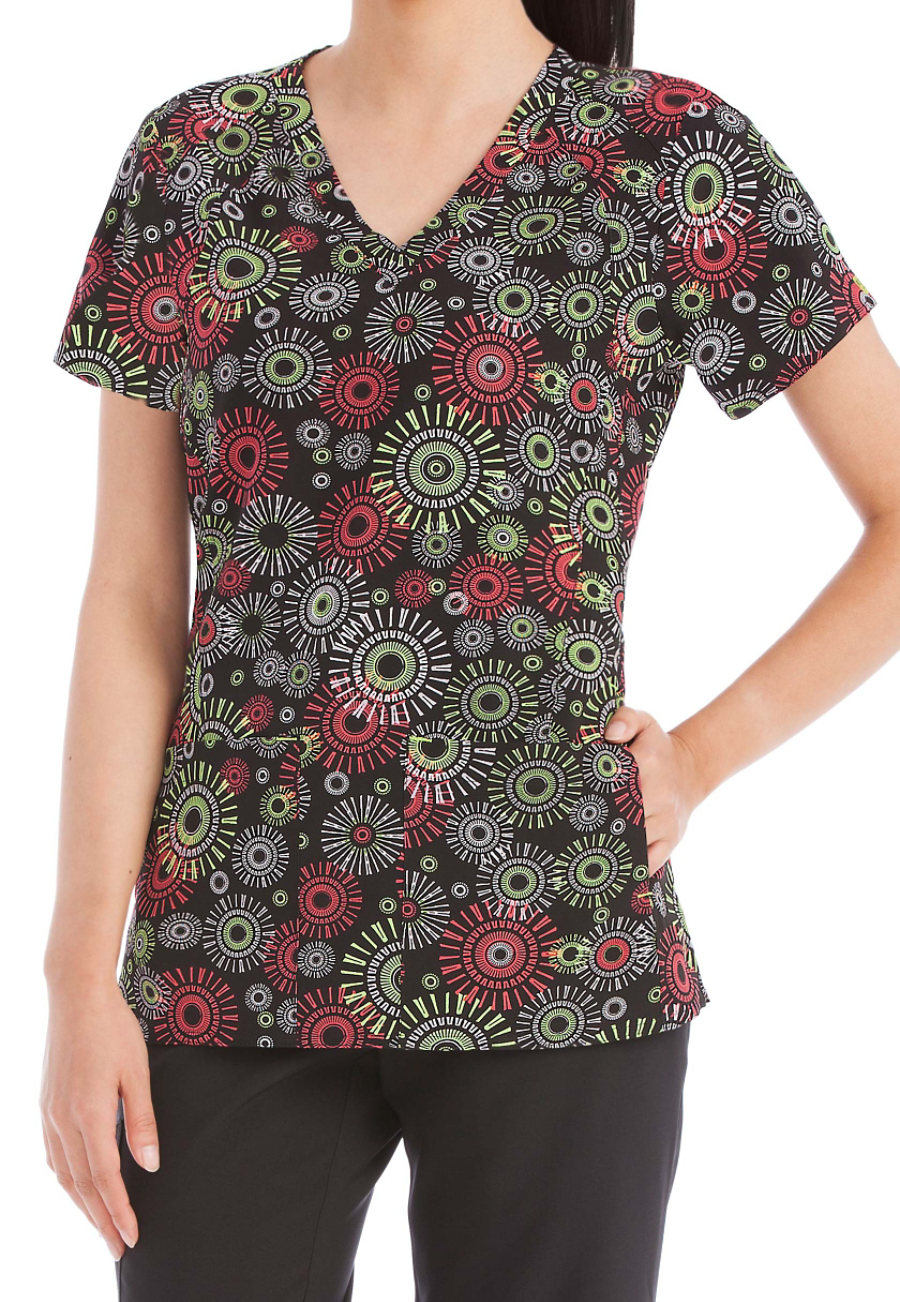 Med Couture Activate Round And Round Refined Print Scrub Tops - Round and Round print - XS 8423RR