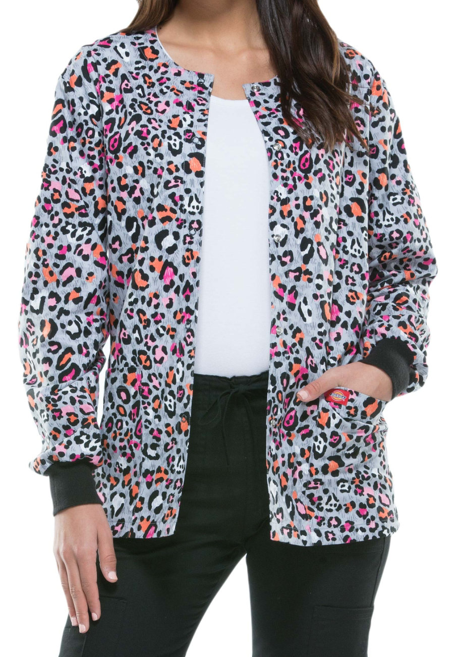 Dickies EDS Let There Be Leopard Print Scrub Jackets - Let There Be Leopard