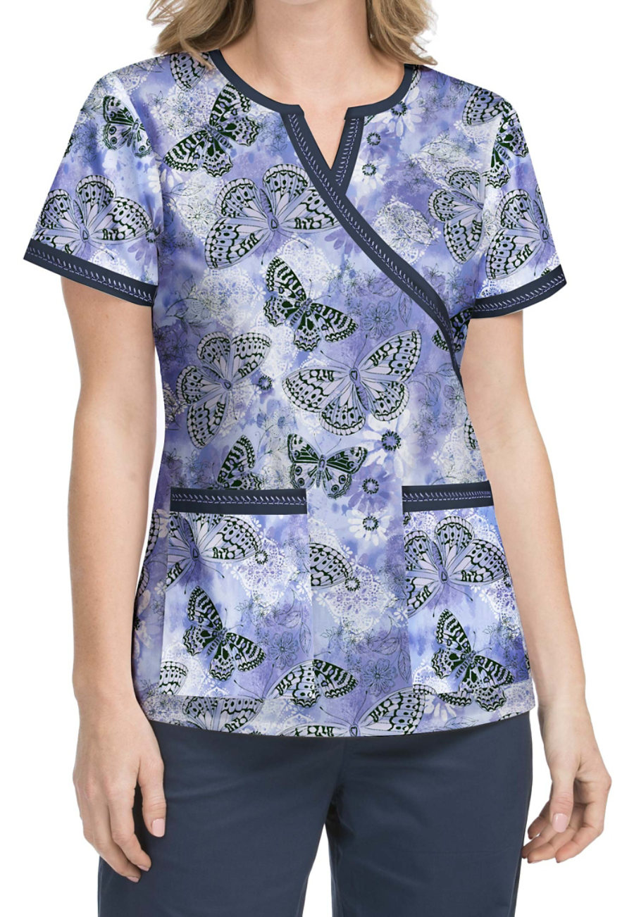 Med Couture MC2 Fancy Flutter Crossover Print Scrub Top
