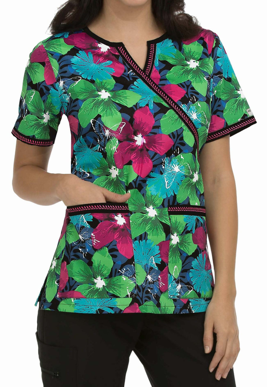 Med Couture MC2 Hot Tropic Crossover Print Scrub Top