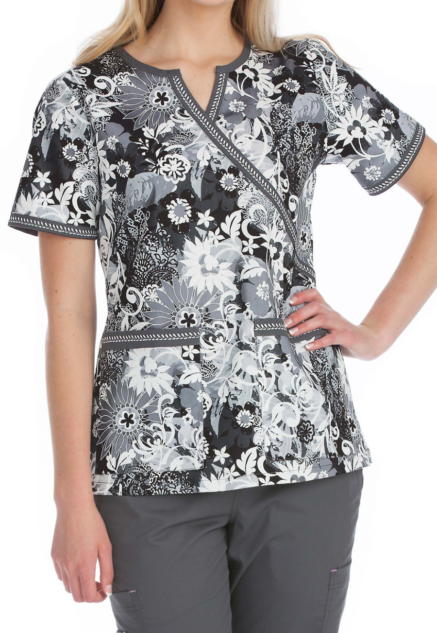 Med Couture Shades Of Grey Crossover Print Scrub Top