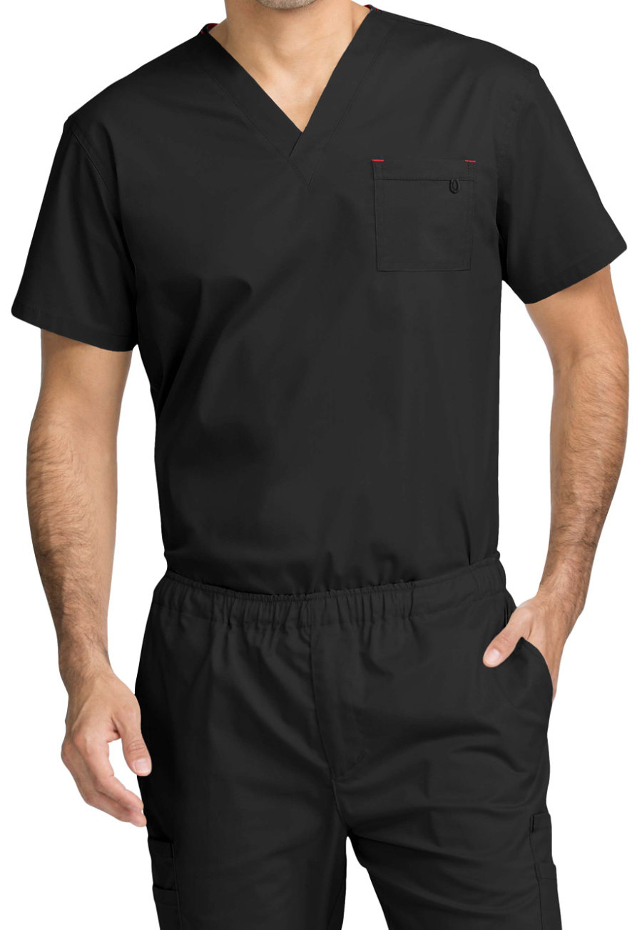 Med Couture MC2 Red Alert Men's 1 Pocket Scrub Tops