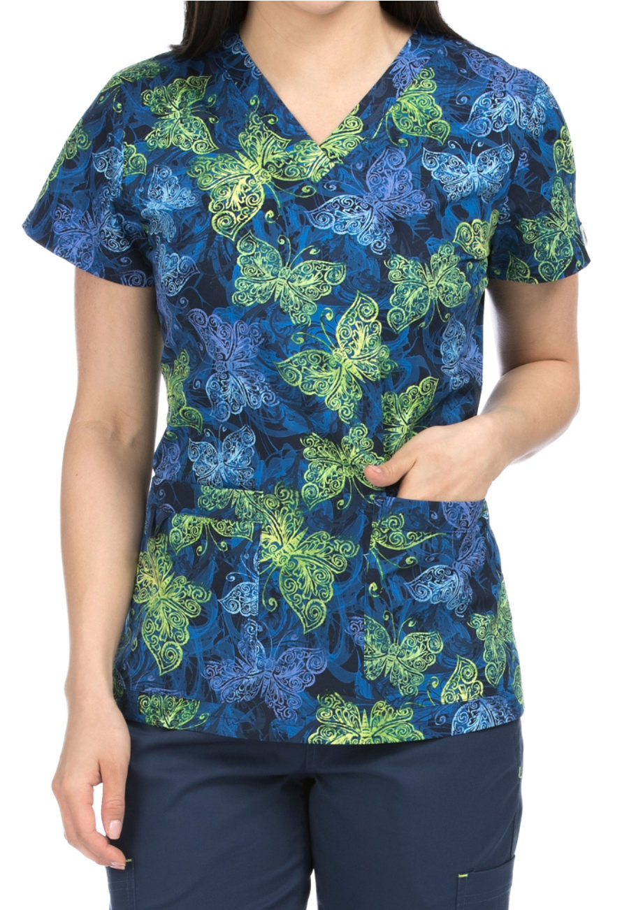 Image of Med Couture MC2 Butterfly Swirls V-neck Print Scrub Tops - Butterfly Swirls - 3X