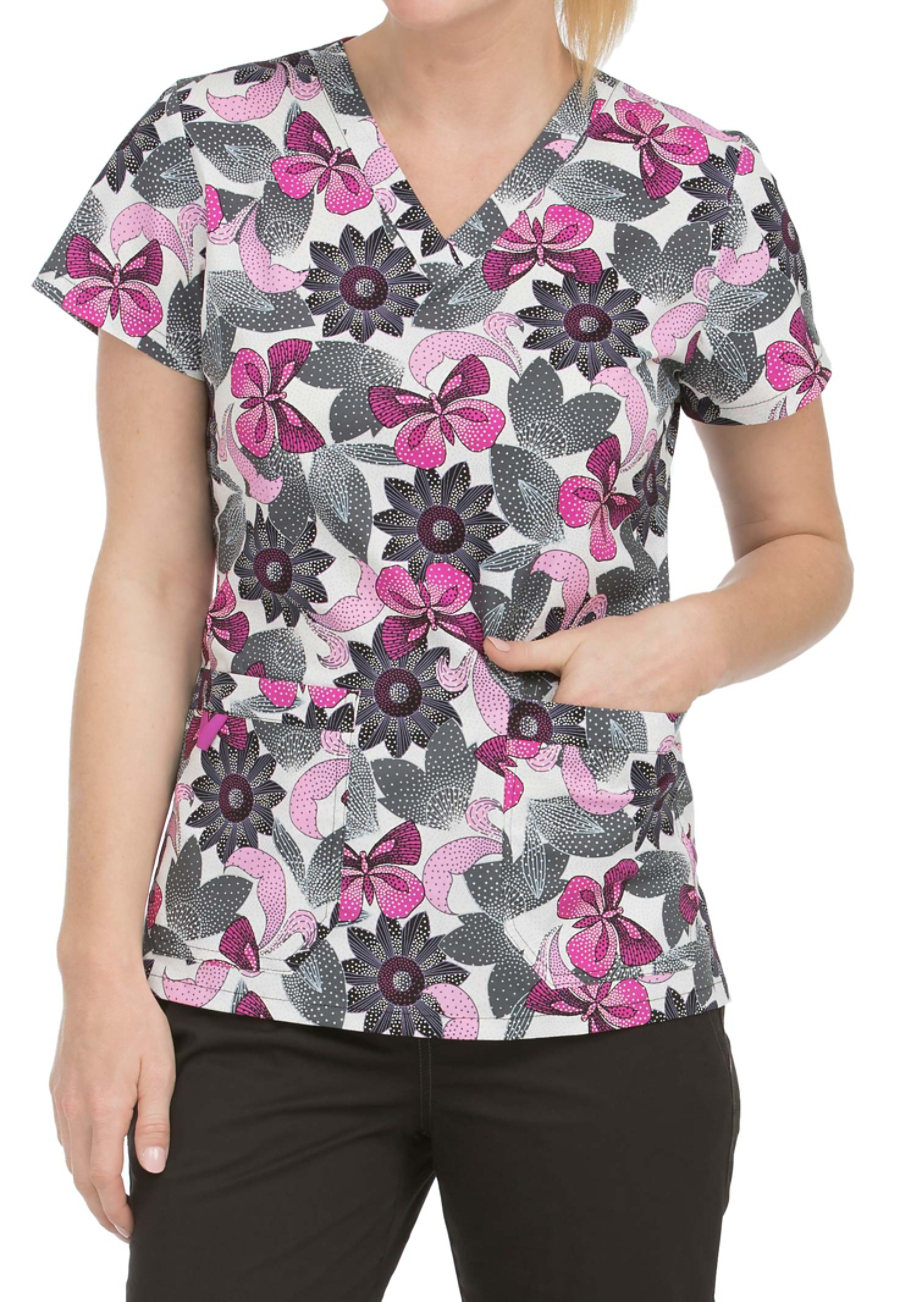 Med Couture MC2 Magical Mystery V-neck Print Scrub Top