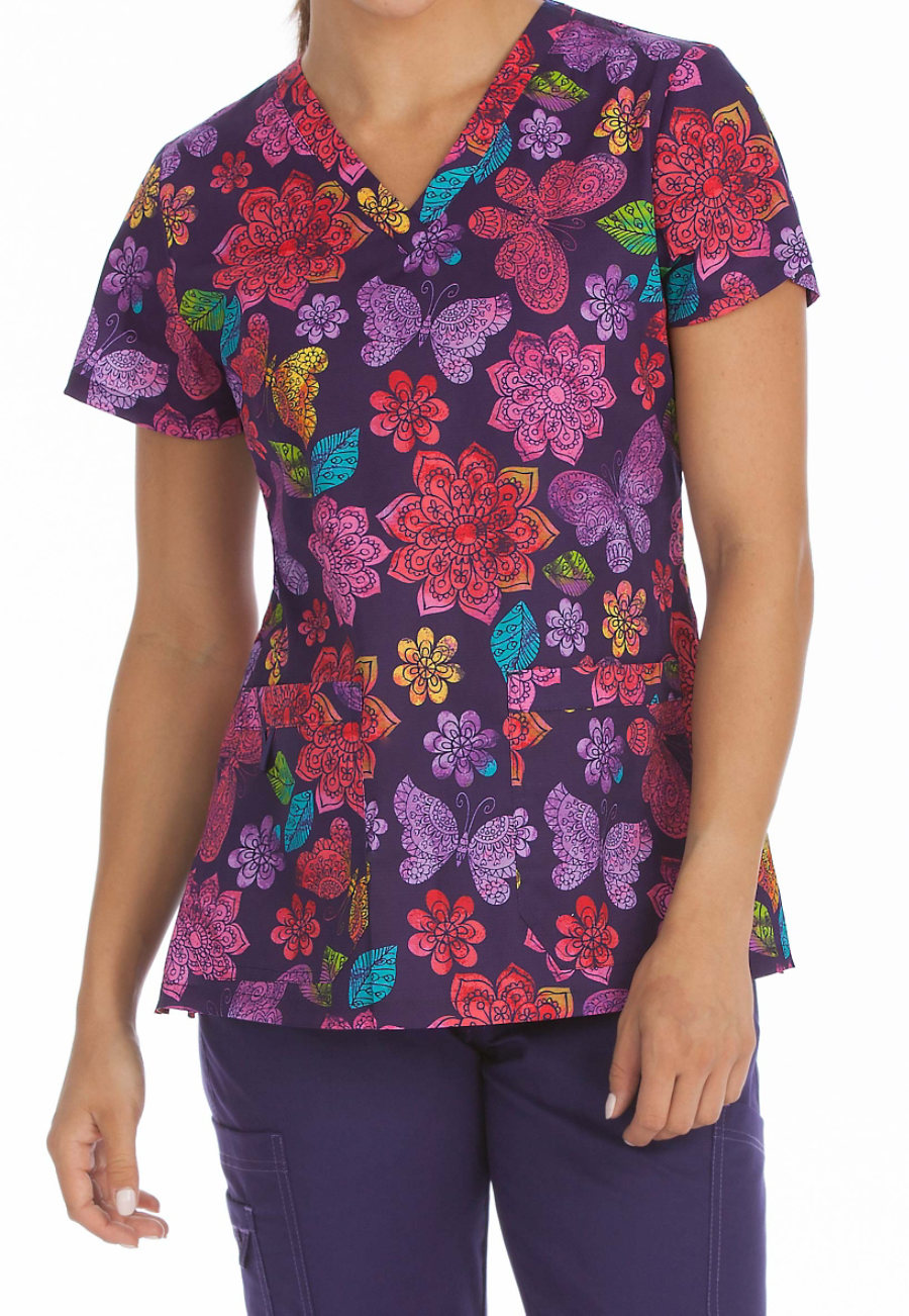 Med Couture MC2 Sweet Nature V-neck Print Scrub Top