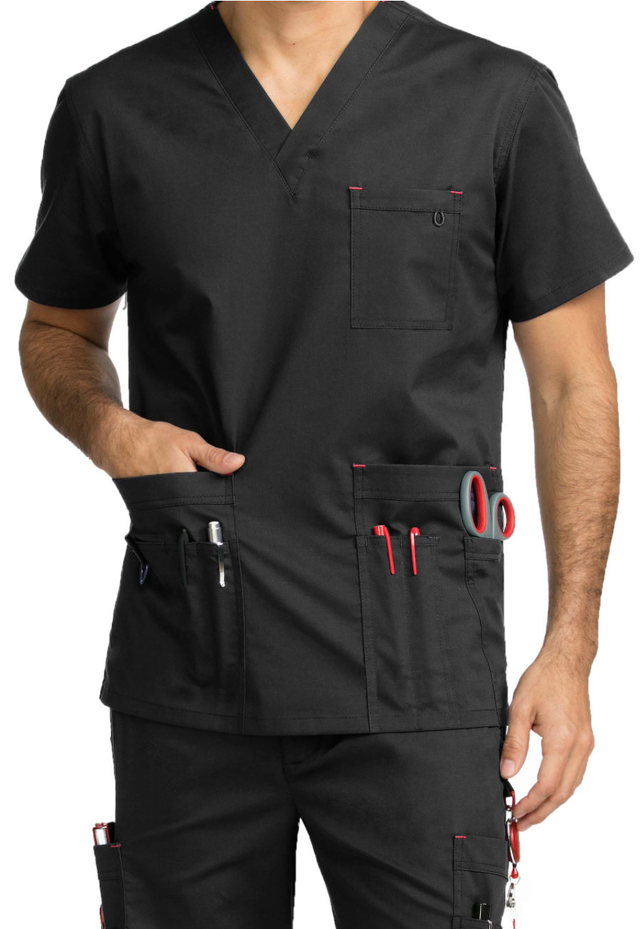 Med Couture MC2 Men's Red Alert Multi Pocket Scrub Tops