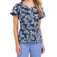Med Couture MC2 Lexi All Abuzz Notch Neck Print Tops