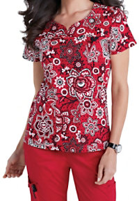 Med Couture MC2 Lexi Budding Romance Print Scrub Tops