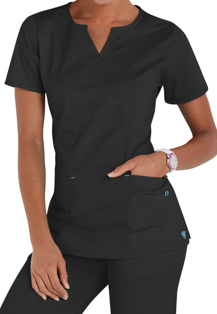 Med Couture Notched Crossover Scrub Tops
