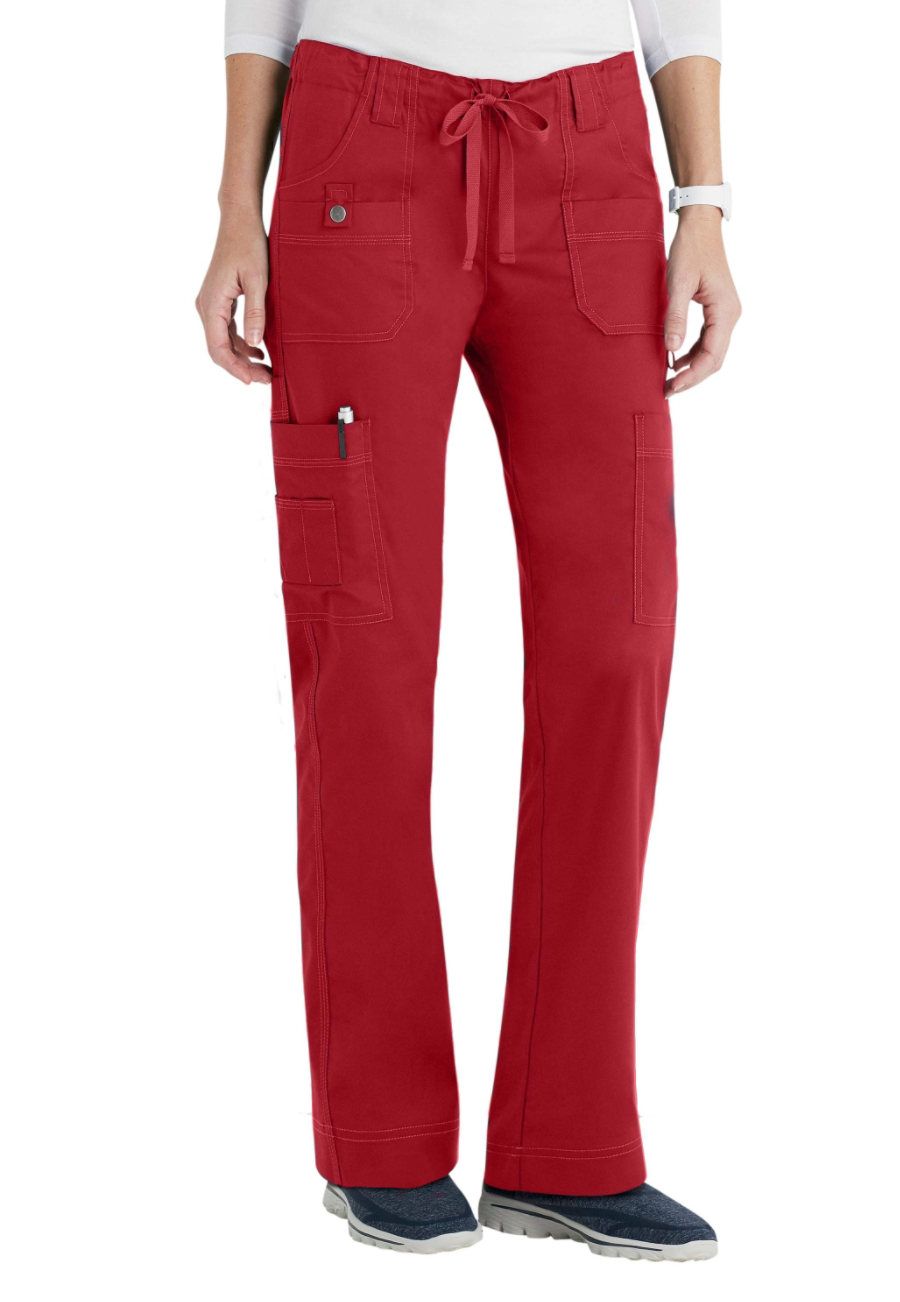 Dickies Gen Flex Youtility Low Rise Slim Drawstring Scrub Pants - Crimson