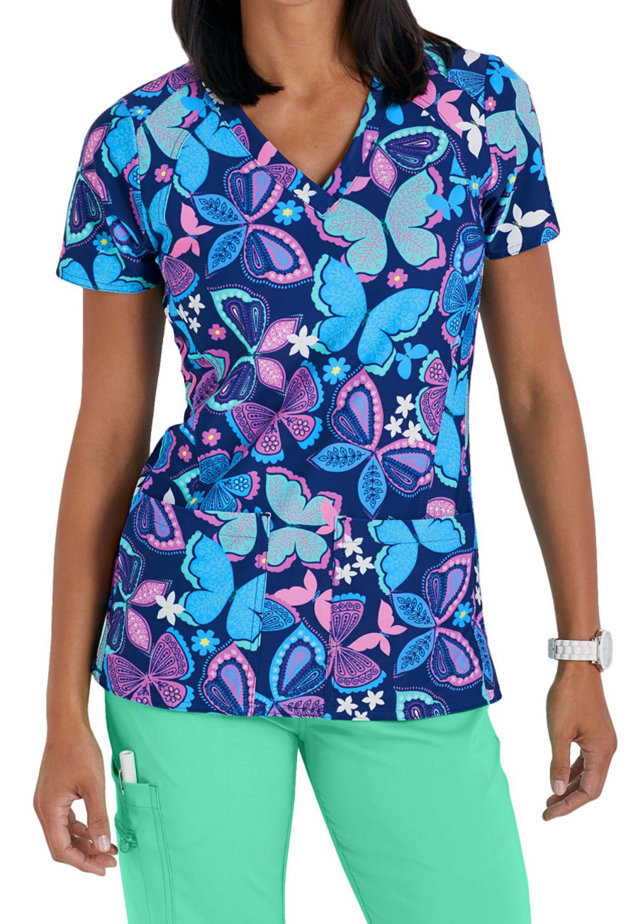 Med Couture Activate Catch Of The Day Print Scrub Top