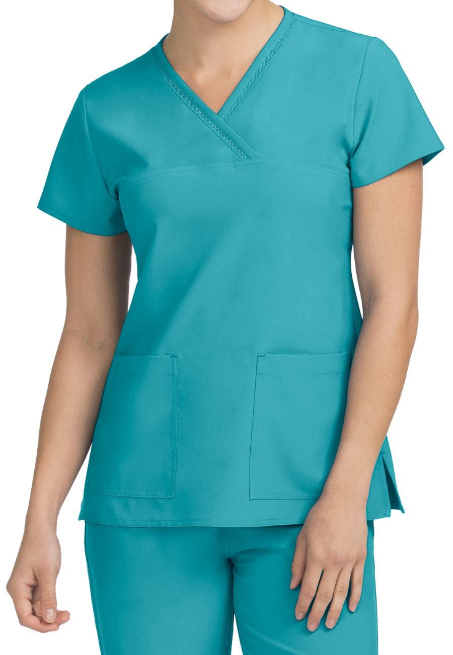 Med Couture Activate Fluid Mock Wrap Scrub Tops
