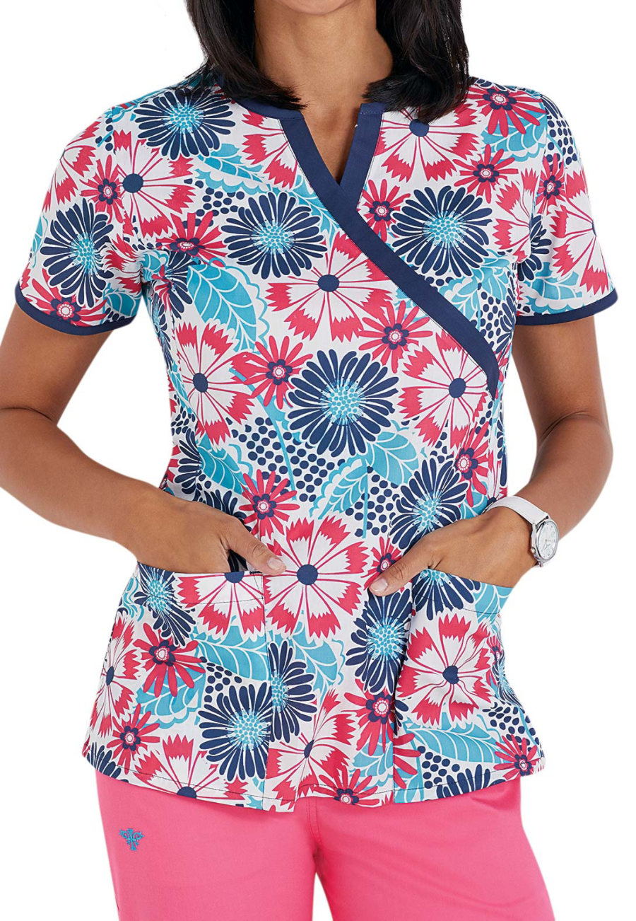 Med Couture Sweet Petals Print Scrub Tops