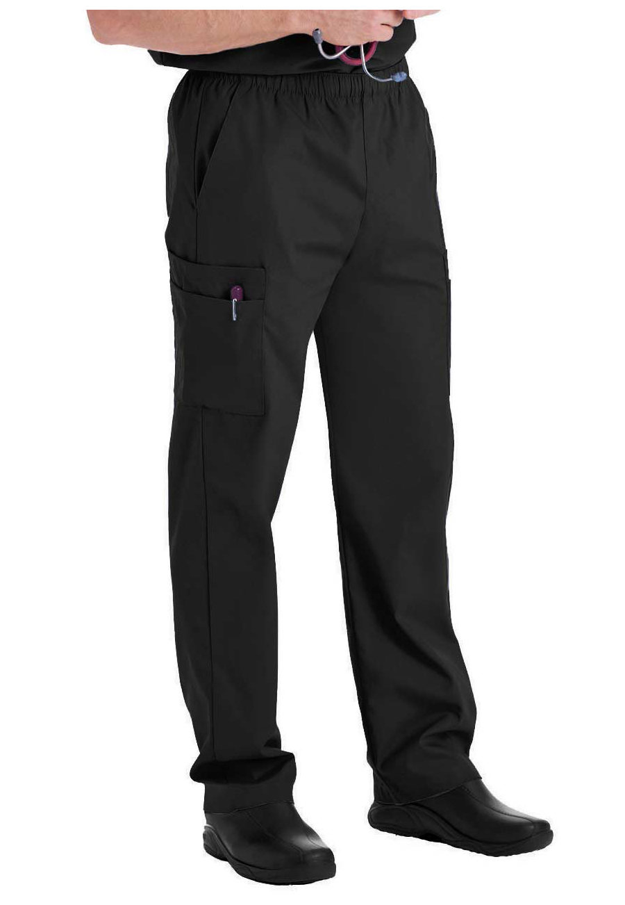 Landau Essentials Men's Cargo Scrub Pants - Black - 5X plus size,  plus size fashion plus size appare