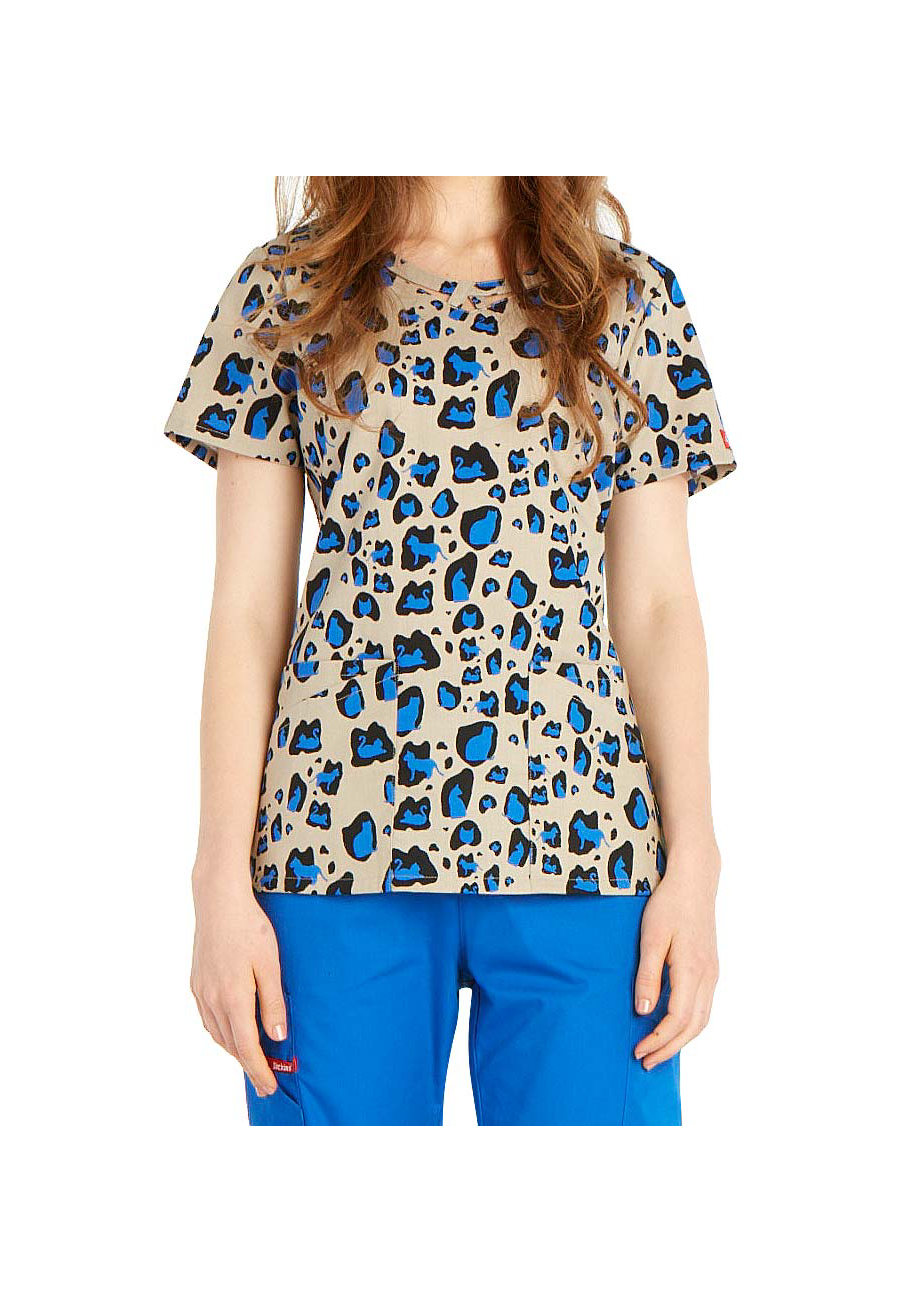 Dickies EDS Kitty Cat Camo Cut-out Neckline Print Scrub Tops - Kitty Cat Camo