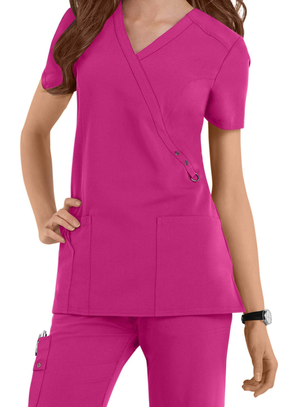 Dickies Xtreme Stretch Mock Wrap Scrub Tops purple