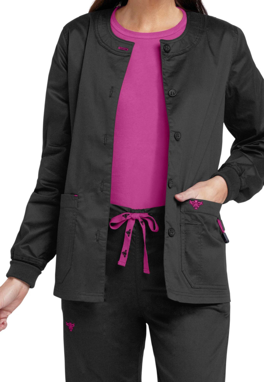 Med Couture Warm-up Scrub Jackets - Black/Raspberry - XS plus size,  plus size fashion plus size appare
