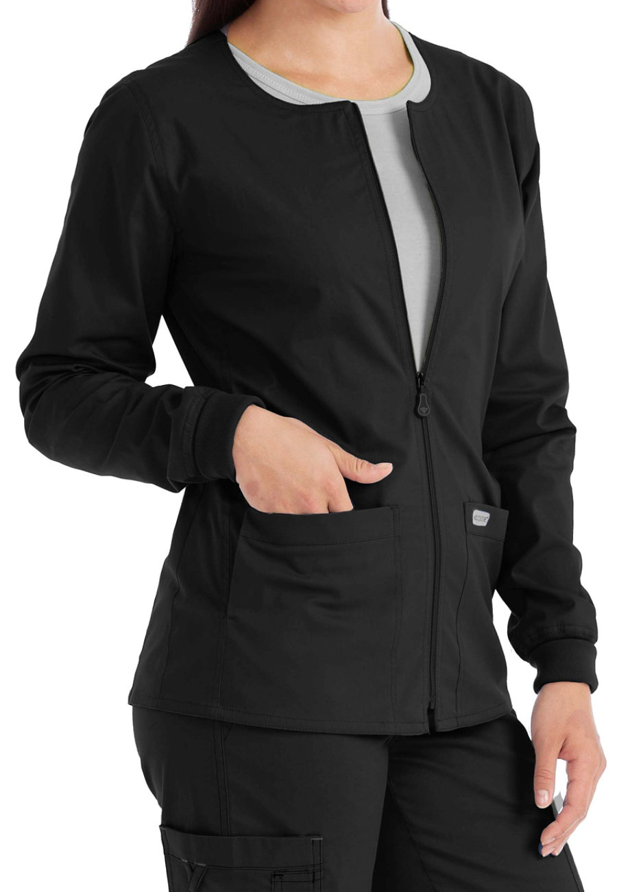 Med Couture In-Seam Zip Front Warm Up Scrub Jackets