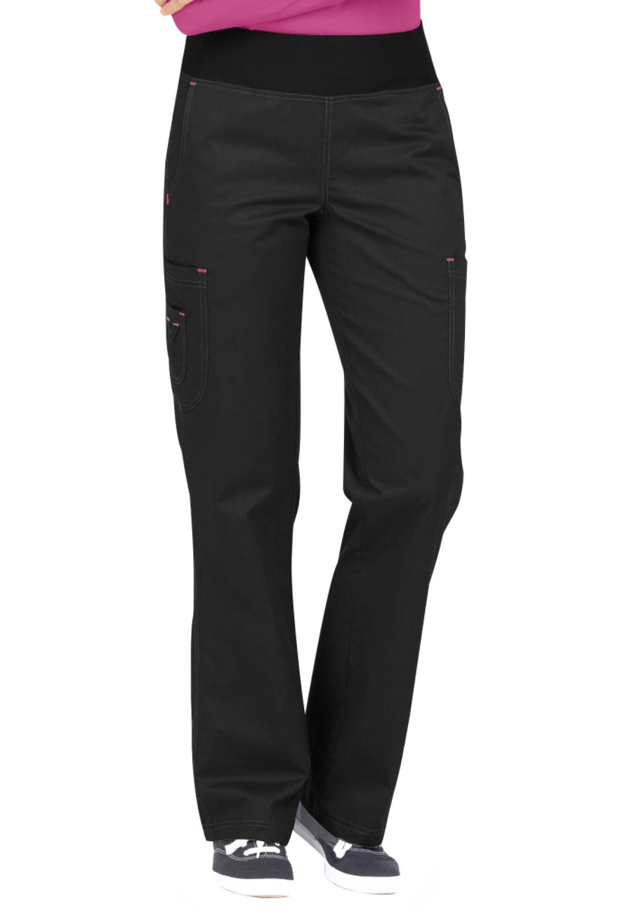 Med Couture MC2 Yoga Scrub Pants - Black/Raspberry - 2X 8752