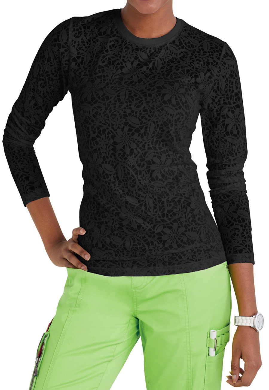 Beyond Scrubs Lace Burnout Long Sleeve Tees Lace print