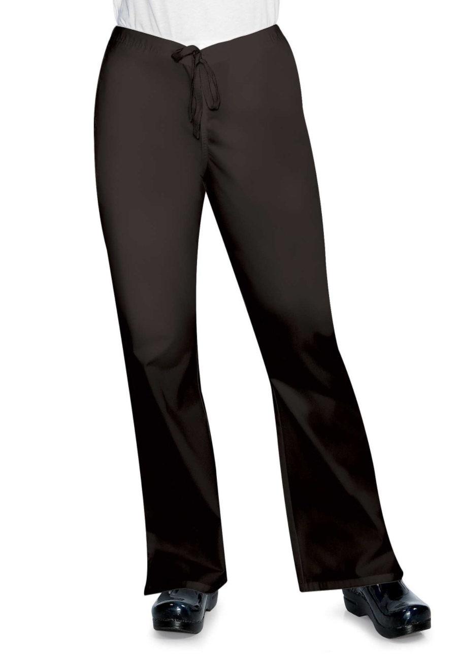 Life Essentials Flare Leg Drawstring Scrub Pants - Black - M plus size,  plus size fashion plus size appare