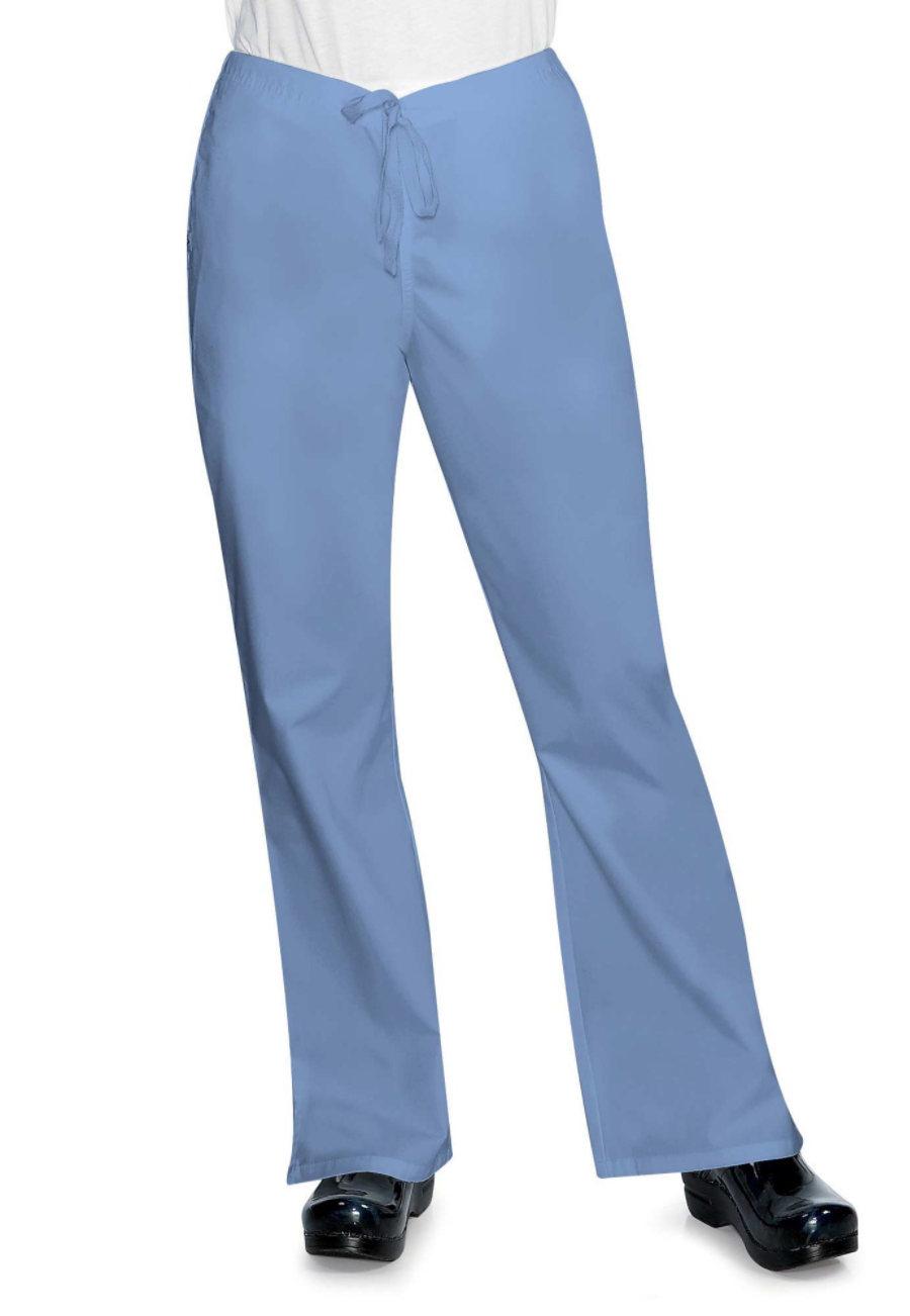 Life Essentials Flare Leg Drawstring Scrub Pants - Ceil - 2X plus size,  plus size fashion plus size appare