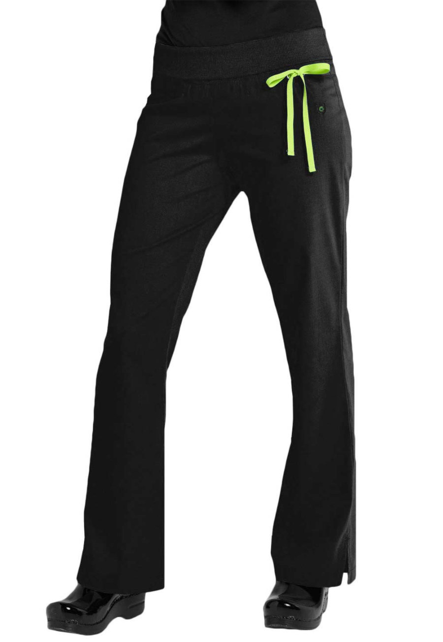 Urbane Sport Knit Roll-Tops Yoga Stretch Scrub Pants - Black - M plus size,  plus size fashion plus size appare