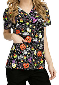 Med Couture Anna Boo Crew V-neck Print Scrub Tops