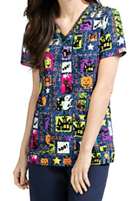 Med Couture Anna Ghoul Friends V-neck Print Scrub Tops