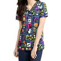 Med Couture Anna Ghoul Friends V-neck Print Tops