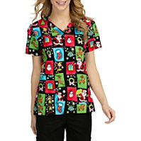 Med Couture Anna Sneaky Santa V-neck Print Tops
