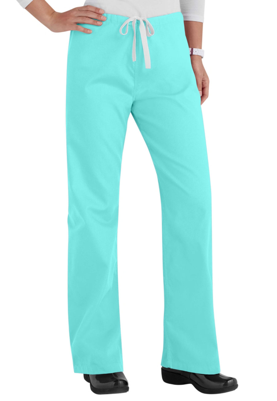 Urbane Essentials Relaxed Leg Drawstring Scrub Pants - Aqua - L plus size,  plus size fashion plus size appare