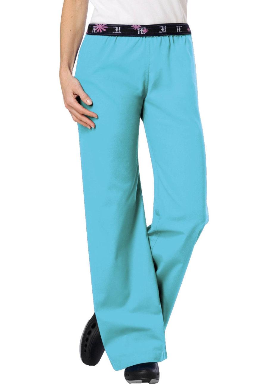 Urbane Work-it Flip Down Scrub Pants - Aqua - P2X plus size,  plus size fashion plus size appare