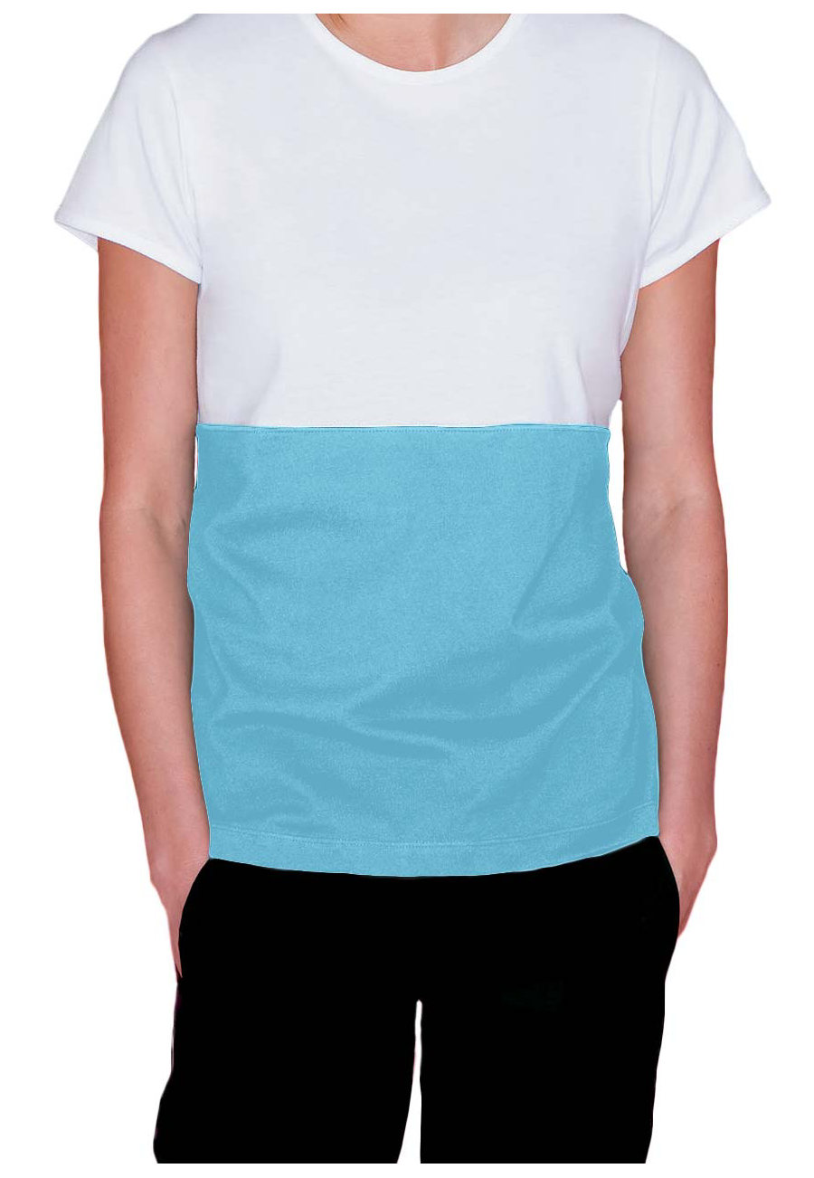 Urbane Live Sweet Bon Bon Vivant Scrub Tees Shirt - White/aqua trim - M plus size,  plus size fashion plus size appare