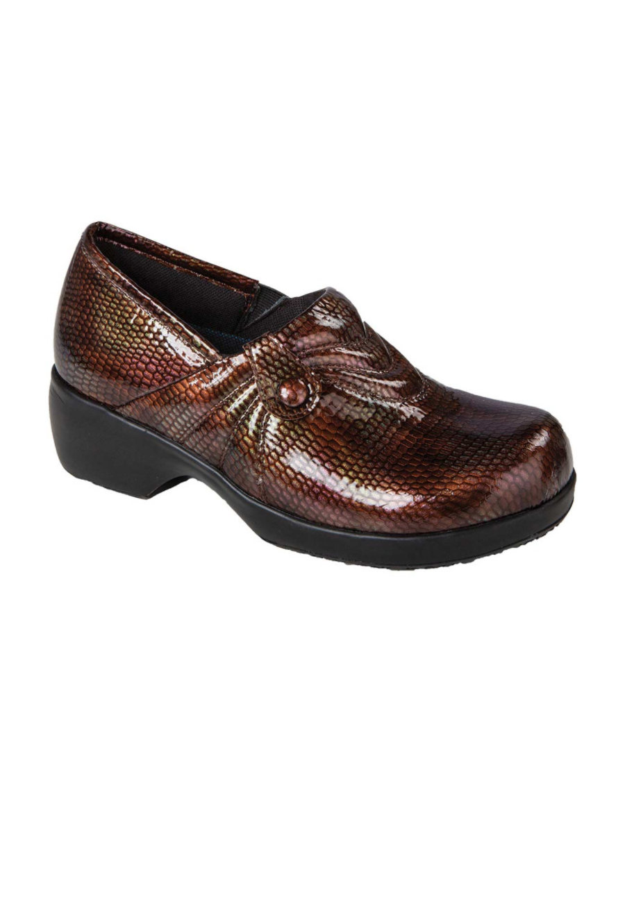 Cherokee Elegance Series Women's Nursing Clogs - Brown Iridescent Snake